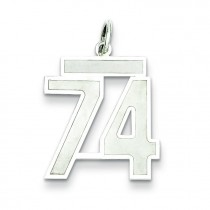Medium Number 74 in Sterling Silver