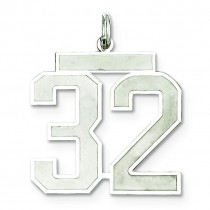 Large Number 32 in Sterling Silver