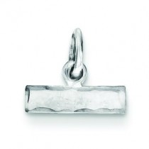Small Diamond Cut Top Charm in Sterling Silver