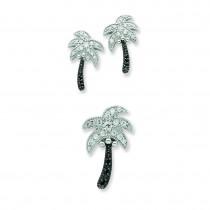 Black White CZ Palm Tree Slide Pendant Post Earrings in Sterling Silver