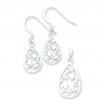 Filigree Teardrop Earring Pendant Set in Sterling Silver