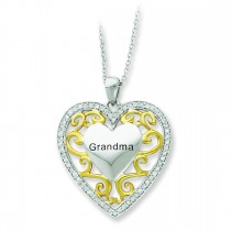 Grandma In Heart Necklace in Sterling Silver