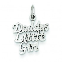 Daddy Little Girl Charm in 14k White Gold