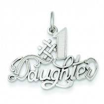 Daughter Charm in 14k White Gold