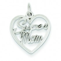Super Mom Charm in 14k White Gold