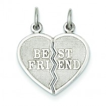 Best Friend Break Apart Charm in 14k White Gold