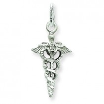 Caduceus Charm in 14k White Gold