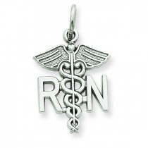 Registered Nurse Charm in 14k White Gold