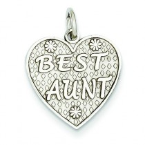 Best Aunt Charm in 14k White Gold