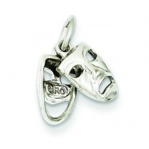 Comedy Tragedy Charm in 14k White Gold