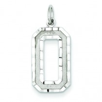 Large Diamond Cut Number 0 Charm in 14k White Gold