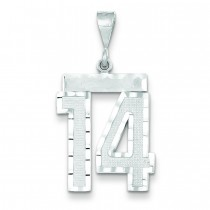 Large Diamond Cut Number 14 Charm in 14k White Gold