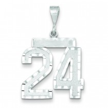 Large Diamond Cut Number 24 Charm in 14k White Gold