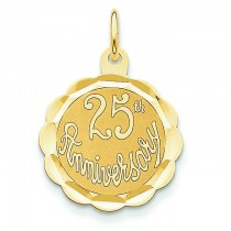 25th Anniversary Disc Charm in 14k Yellow Gold