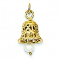 Wedding Bell Pearl Charm in 14k Yellow Gold