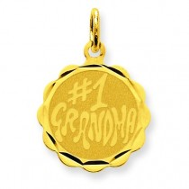 Number One Grandma Disc Charm in 14k Yellow Gold