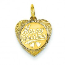 Merry Christmas Heart Disc Charm in 14k Yellow Gold