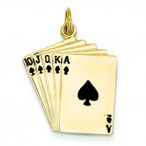 Royal Flush Playing Cards Charm in 14k Yellow Gold