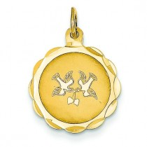 Love Birds Disc Charm in 14k Yellow Gold