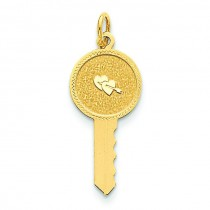 Hearts On Key Charm in 14k Yellow Gold