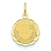 Happy 5th Anniversary Charm in 14k Yellow Gold