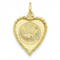 Happy 20th Anniversary Charm in 14k Yellow Gold
