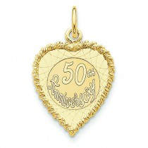Happy 50th Anniversary Charm in 14k Yellow Gold