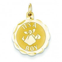 Its A Boy Scalloped Disc Charm in 14k Yellow Gold