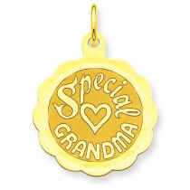 Special Grandma Disc Charm in 14k Yellow Gold