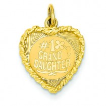Granddaughter Disc Charm in 14k Yellow Gold