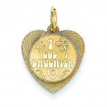 Goddaughter Heart Disc Charm in 14k Yellow Gold
