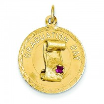Graduation Day Charm Red Stone Charm in 14k Yellow Gold