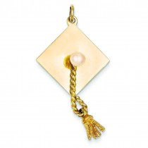 Graduation Cap Cultured Pearl Charm in 14k Yellow Gold