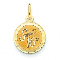 Sweet Sixteen Disc Charm in 14k Yellow Gold