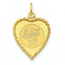 Sweet Sixteen Heart Disc Charm in 14k Yellow Gold