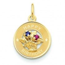 Happy Birthday Flower Basket Charm in 14k Yellow Gold