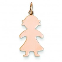 Engraveable Girl Charm in 14k Rose Gold
