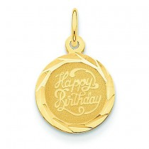 Happy Birthday Disc Charm in 14k Yellow Gold