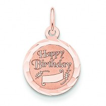 Happy Birthday Disc Charm in 14k Rose Gold