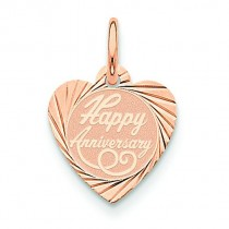 Happy Anniversary Heart Disc Charm in 14k Rose Gold