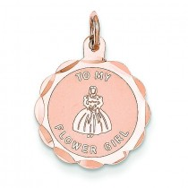 Flower Girl Disc Charm in 14k Rose Gold