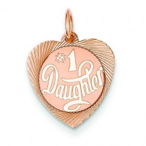 Number One Daughter Charm in 14k Rose Gold
