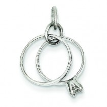 CZ Wedding Rings Charm in 14k White Gold