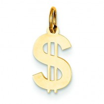Dollar Sign Charm in 14k Yellow Gold