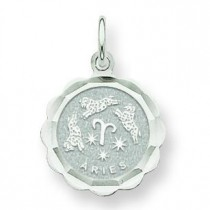 Engraveable Aries Zodiac Scalloped Disc Charm in 14k White Gold