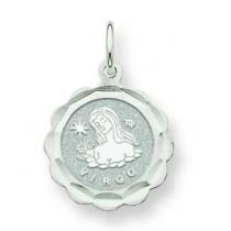 Engraveable Virgo Zodiac Scalloped Disc Charm in 14k White Gold