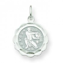 Engraveable Aquarius Zodiac Scalloped Disc Ch in 14k White Gold