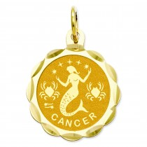 Engraveable Cancer Zodiac Scalloped Disc Charm in 14k Yellow Gold