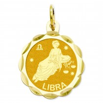 Engraveable Libra Zodiac Scalloped Disc Charm in 14k Yellow Gold