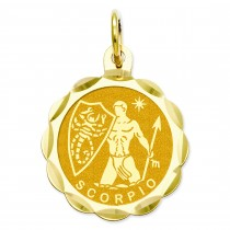 Engraveable Scorpio Zodiac Scalloped Disc Charm in 14k Yellow Gold